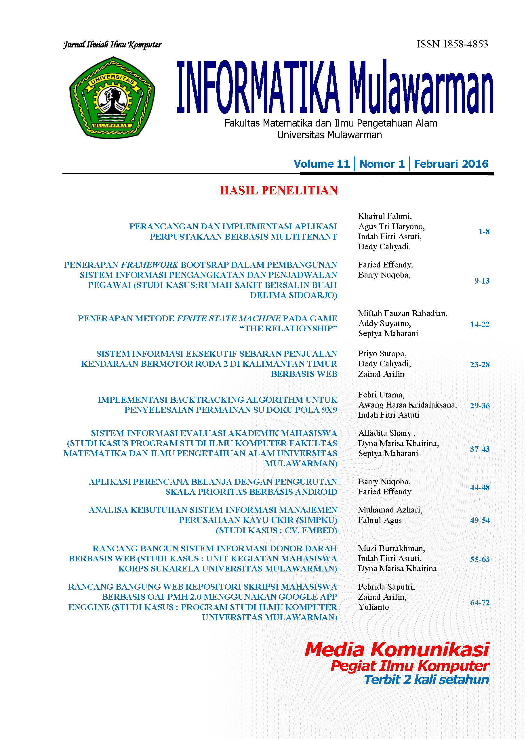 Jurnal Informatika Mulawarman (JIM) Vol 11 No 1 Februari 2016