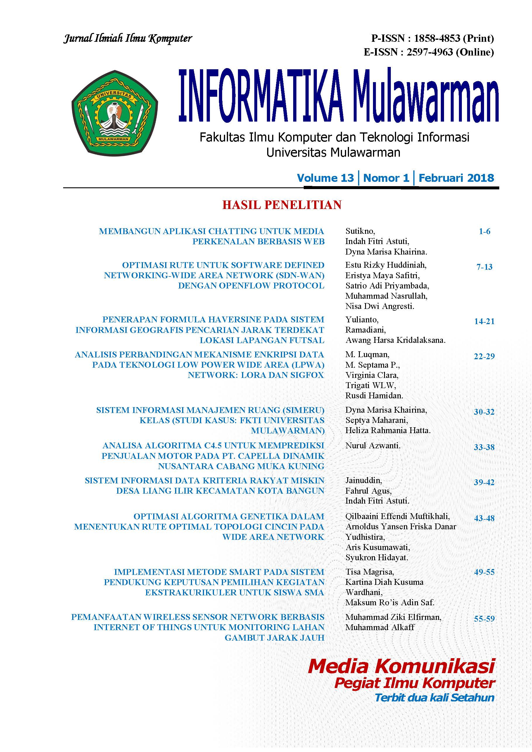 Jurnal Informatika Mulawarman Vol 13 Issue 1 Februari 2018